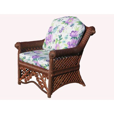 Gazebo Armchair Finish: Brownwash, Upholstery: Amethyst