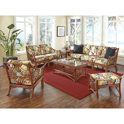 Bali 6 Piece Conversation Set Upholstery: Clemens Noir Red
