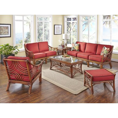 Bali 6 Piece Conversation Set Upholstery: Corinthian Red Midnite