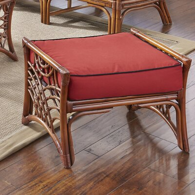 Bali Ottoman Upholstery: Corinthian Red Midnite, Upholstery: Brown