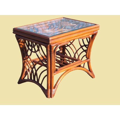 Rainey Wood Base End Table Base Color: Brown