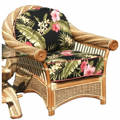 Maui Twist Arm Chair Upholstery: Hamakua Ebony