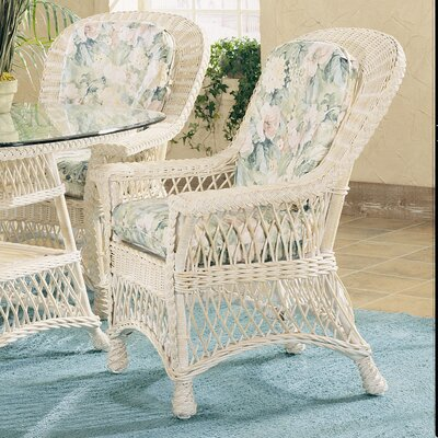 Bar Harbor Arm Chair Finish: Whitewash, Upholstery: Montfluer Surf