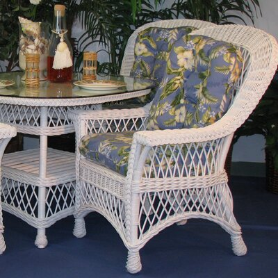 Bar Harbor Arm Chair Finish: White, Upholstery: Freeport Summer