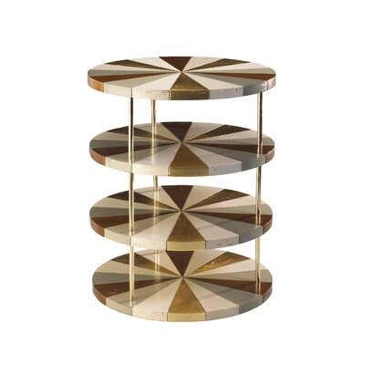 Poiroux Round End Table Finish: Ivory / Beige / Gray Blue