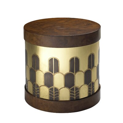 Kepler Gibson End Table Color: Burl Midtone/Brass