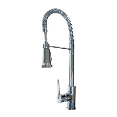 Spartacus One Handle Single Hole Kitchen Faucet with Pull Down Spray Finish: Chrome