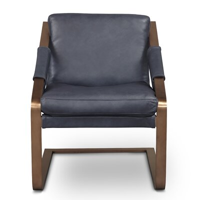 Frame Armchair Finish: Rose Gold, Upholstery: Maxima Azul