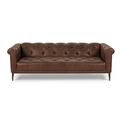 Marx Leather Chesterfield Sofa Finish: Chocolate Brown