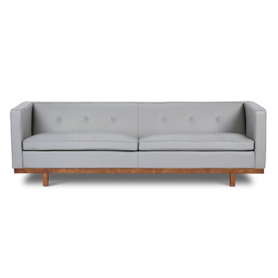 Correia Leather Chesterfield Sofa Upholstery: Light Gray