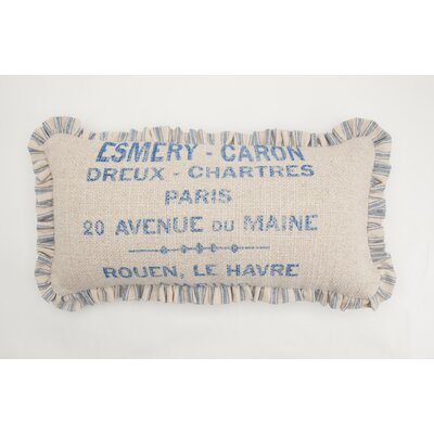 French Words Small Skinny Down Lumbar Pillow Color: Sand / Blue