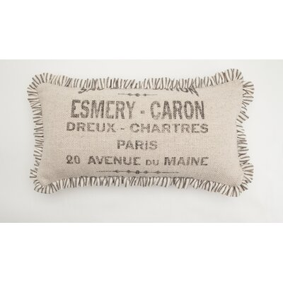French Words Small Skinny Down Lumbar Pillow Color: Sand / Black