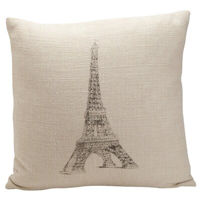 Auron Eiffel Tower Print Cotton Throw Pillow