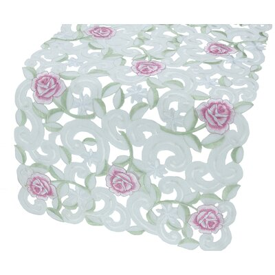 Xia Home Fashions Dainty Rose Table Runner - Size: 15