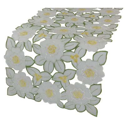 """Xia Home Fashions Dainty Flowers Table Runner - Size: 0.1"""" H x 54"""" W x 15"""" D"""