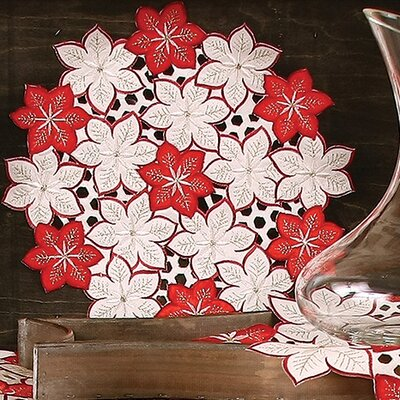 Candy Cane Poinsettia Embroidered Cutwork Holiday Placemat