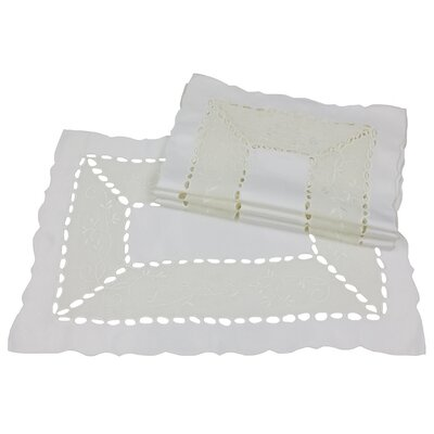 Simply Divine Embroidered on Sheer Cutwork Placemat