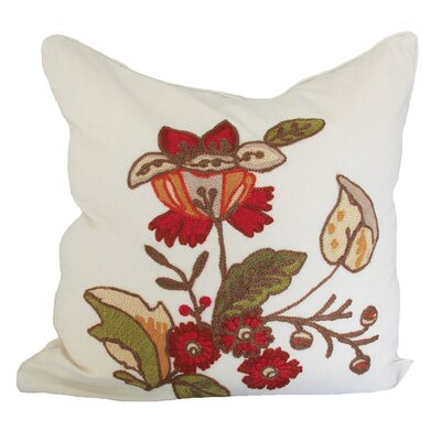 Floral Crewel Embroidery Cotton Throw Pillow
