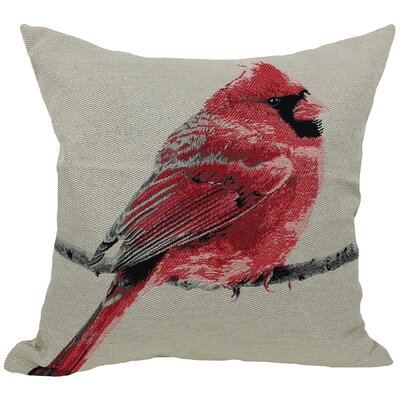 Cardinal Bird Emboridery Throw Pillow