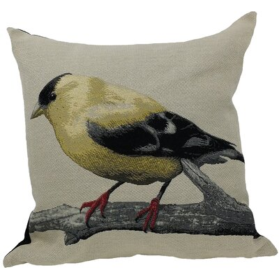 Finch Bird Emboridery Throw Pillow