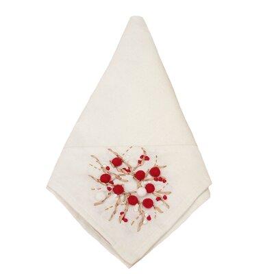 Holiday Berry Wreath Ribbon & Pom Pom Embroidered Napkin