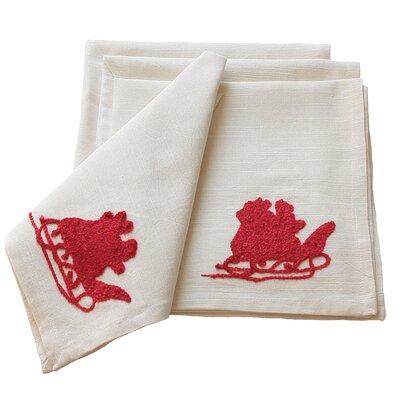 Santa Crewel Embroidery Holiday Napkin