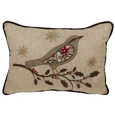 Bird on Twig Emboridery Lumbar Pillow