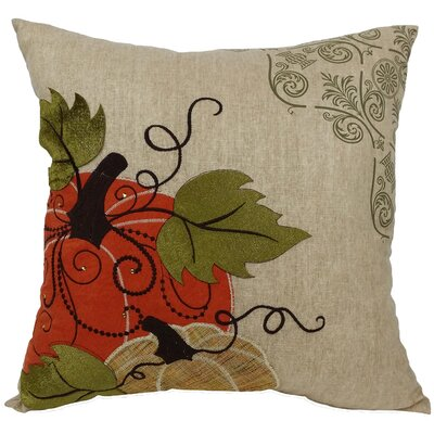 Pumpkin Embroidered with Suede Accents Throw Pillow