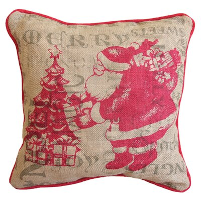 Saint Nick Christmas with Printed Burlap Throw Pillow