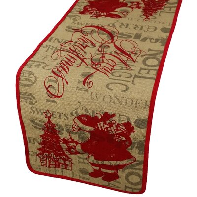 "Saint Nick Christmas on Printed Burlap Table Runner Size: 54"" W x 14"" D"