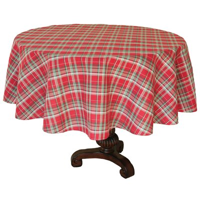 "Holiday Tartan Christmas Round Tablecloth Size: 0.2"" H x 70"" W x 70"" L"