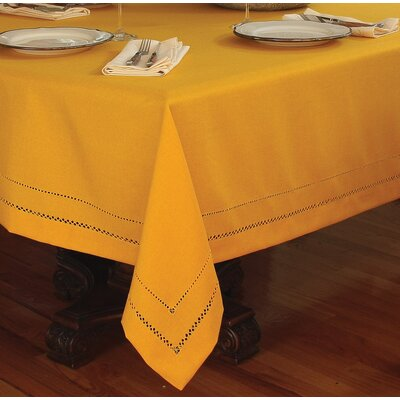 Evergreen Handmade Double Hemstitch Easy Care Tablecloth Color: Gold, Size: 0.1