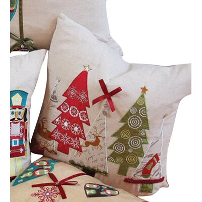 Christmas Ribbon with Tree Linen Throw Pillow Fill Type: Feather Fill