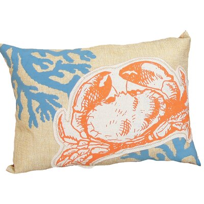 Coastal Applique Crab with Print Coral Decorative Lumbar Pillow
