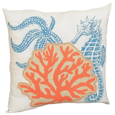 Coastal Applique Sea Life and Coral Decorative Throw Pillow