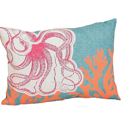 Coastal Applique Octopus with Print Coral Decorative Lumbar Pillow