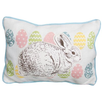 Bunny Eggs Printed Applique Easter Decorative Jute Lumbar Pillow