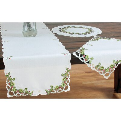 "Winter Berry Christmas Table Runner Size: 0.1"" H x 15"" W x 72"" L"