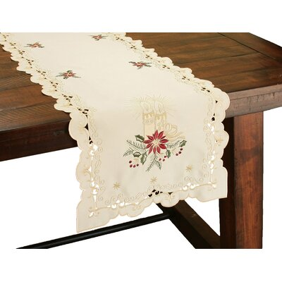 "Golden Glow Embroidered Cutwork Christmas Table Runner Size: 0.1"" H x 15"" W x 54"" D"