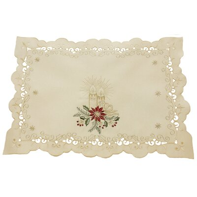 Golden Glow Embroidered Cutwork Christmas Placemat