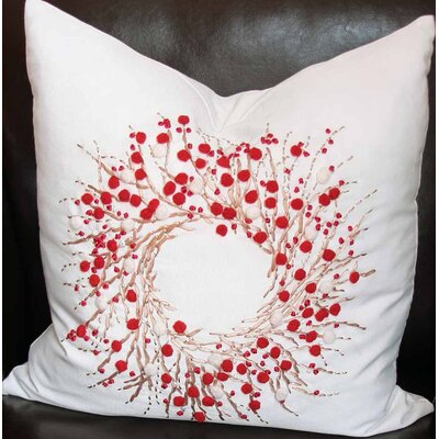 Holiday Berry Wreath Throw Pillow Size: 18 H x 18 W