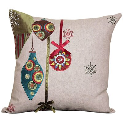Noel Ornaments Embroidered Holiday Linen Throw Pillow Fill Type: Polyester