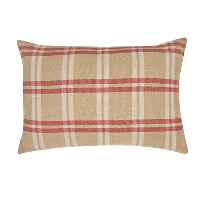 Check Decorative Linen Lumbar Pillow
