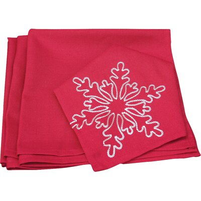 Snowy Noel Embroidered Snowflake Christmas Napkin