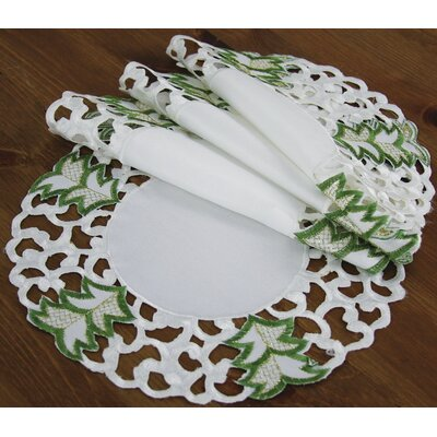 """Tannenbaum Embroidered Cutwork Holiday Placemat Size: 16"""" W x 16"""" D"""