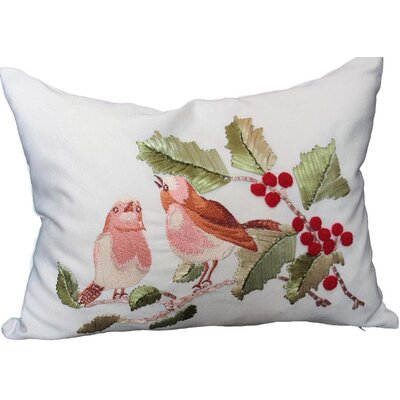 Holiday Birds on Holly Lumbar Pillow