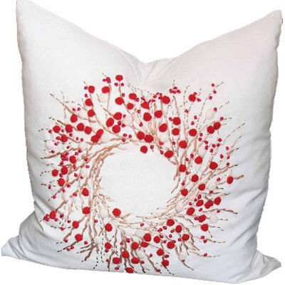 Holiday Berry Wreath Throw Pillow Size: 20 H x 20 W