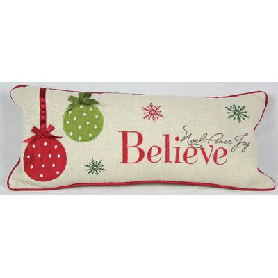 Holiday Believe with Ornaments Bolster Pillow