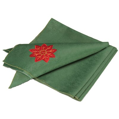 Holly Leaf Poinsettia Embroidered Cutwork Holiday Napkin