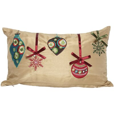 Christmas Ribbon with Ornaments Lumbar Pillow